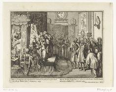Anonymous | Sterfbed van koningin Maria, 1695, Anonymous, Adriaen Schoonebeek, 1695 | Sterfbed van koningin Maria II Stuart, 7 januari 1695. De slaapkamer van de koningin te Whitehall met de koningin te bed omringd door familie, artsen, dominee en leden van de hofhouding. Plaat nr. XV in de serie 'Engelands schouwtoneel' over oorlogen gevoerd door Willem III in de jaren 1691-1695 na de Glorious Revolution, (vierde deel). Met onderschriften in het Nederlands en Frans.