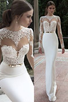 dresses elegant bodas custom dresses Lace Sheer Long Sleeve Gold Two Piece Prom Dresses Sexy Evening Party Dress Gown from custom Bridal gowns Bohemian Style Wedding Dresses, Stunning Wedding Dresses, Designer Wedding Dresses, Bridal Dresses, Prom Dresses, Bridesmaid Dresses, Dresses Uk, Modest Dresses, Gold Two Piece Prom Dress