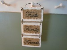 "Small Distressed White Wood and Burlap Sign That Says ""Faith, Family, Friends"" by creativelychristel on etsy Wooden Diy, Wooden Signs, Wooden Plaques, Burlap Crafts, Wood Crafts, Chipboard Crafts, Cute Crafts, Diy Crafts, Burlap Signs"