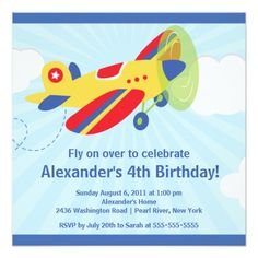 Cute Little Airplane Birthday Party Invitation