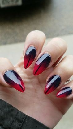 Ombre red and black nail design nail design red nails, nails Diy Red Nails, Black Ombre Nails, Nails Yellow, Baby Blue Nails, Black Stiletto Nails, Black Nail Art, Striped Nails, White Nails, Pink Nails