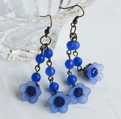 Ocean Blue Jade Bead Spring Flower Antique Brass Handmade Long Dangle Earrings
