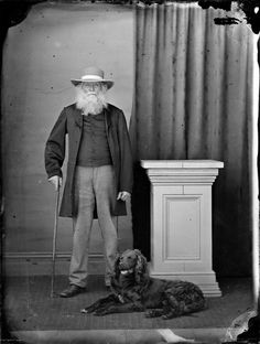 Unidentified man with dog. Harding, William James, :Negatives of Wanganui district. Ref: Alexander Turnbull Library, Wellington, New Zealand. Williams James, Man And Dog, Good People, Amazing People, Old Dogs, Dog Portraits, Antique Photos, Gatos, Pastries