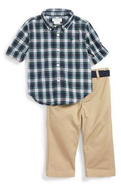 Ralph Lauren Poplin Plaid Shirt & Khaki Pants (Baby Boys)