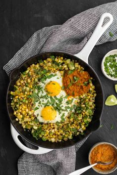 A perfect summer egg skillet featuring a simple zucchini and sweet corn cilantro hash plus grains and legumes if desired. Vegetarian Recipes Dinner, Veggie Recipes, Lunch Recipes, Dinner Recipes, Healthy Recipes, Weeknight Meals, Quick Meals, Pre Prepared Meals, Egg Skillet
