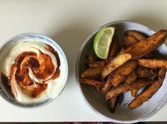 Spiced sweet potato wedges with Greek yogurt and sweet chilli sauce
