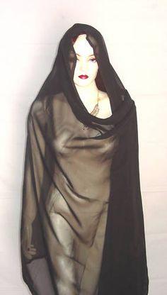 NEW Black  Belly Dance Veil Skirt Scarf Gypsy Tribal