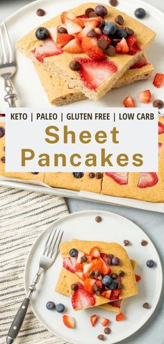 These easy sheet pan pancakes are made from scratch and simply delicious! Made with fresh fruit and totally gluten free and low carb, too. #pancakes #easy #fromscratch #cleananddelicious Oven Baked Pancakes, Pancakes Easy, Breakfast Options, Breakfast On The Go, Pancake Squares, Healthy Spring Recipes, Pancake Toppings, Clean And Delicious, Dairy Free