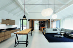 Image 15 of 32 from gallery of Family House Neveklov / ATELIER KUNC architects. Photograph by Jan Vrabec Tiny House, Best Leather Sofa, White Leather, Huge Houses, Wood Cladding, Exterior Cladding, A Frame Cabin, Scandinavian Furniture, Sustainable Architecture