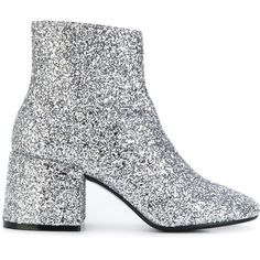 Mm6 Maison Margiela glitter ankle boots (2.147.240 COP) ❤ liked on Polyvore featuring shoes, boots, ankle booties, grey, gray boots, grey booties, grey boots, ankle boots and grey leather boots