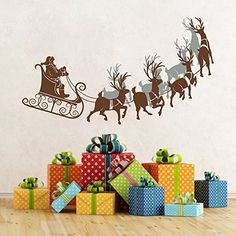 MairGwall Santa Claus Decal Christmas Decor Reindeer Sleigh Mural Nursery Gift 25H x45WSanta Claus and Reindeer SleighBrown 4 Other ReindeersSlate Gray *** Check this awesome product by going to the link at the image.