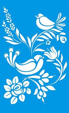 """13.5"""" x 8.3"""" (34cm x 21cm) Reusable Flexible Plastic Stencil for Graphical Design Airbrush Decorating Wall Furniture Fabric Decorations Drawing Drafting Template - Flowers Leaves Birds"""