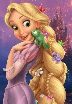 Rapunzel and Pascal. Love the hair Walt Disney Princesses, Disney Princess Rapunzel, Disney Princess Pictures, Disney Tangled, Rapunzel Torte, Bolo Rapunzel, Disney Love, Disney Art, Disney Drawings
