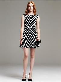 Multi-Stripe Fit-and-Flare Dress