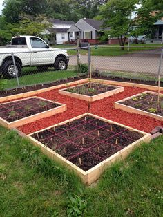 Great example of a square foot garden layout!