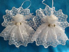 White lace angels handmade tree ornament decoration gift