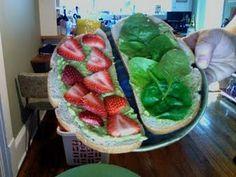 strawberry, spinach, and guacamole sandwich