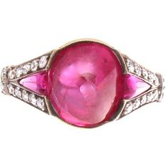 Pre-owned GIA 5 Carat Burma No Heat Cabochon Ruby Gold Ring ($27,500) ❤ liked on Polyvore featuring jewelry, rings, more rings, preowned jewelry, deco ring, platinum jewelry, ruby jewellery and red jewelry