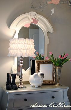 Dear lillie ruffled lamp tutorial <3  I did these.  They are so easy and turned out soooo cute.  I got alittle carried away and made about 8 of them :)