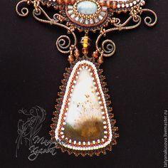 """Купить Кулон """"Зимние кружева"""" - коричневый, бежевый, бронзовый, кулон, ожерелье, ручная авторская работа"""