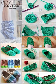 Needlecrafts - Crochet, Quick and Easy Slippers Large image Diy Crafts Crochet, Easy Crochet, Crochet Projects, Knit Crochet, Tutorial Crochet, Diy Crochet Slippers, Crochet Slipper Pattern, Crochet Patterns, Lidia Crochet Tricot