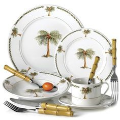 Palm+Tree+Home+Decor | 20PC BAHAMA PALM TREE DINNERWARE SET TABLEWARE  sc 1 st  Pinterest & 20 Pc PALM TREE Dinnerware plate dishes.TROPICAL NEW Decor Dinner ...