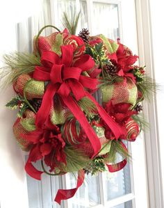 Faux Burlap Christmas Wreath For Door or Wall Red Lime Green Plaid by www.southerncharmwreaths.com SOLD