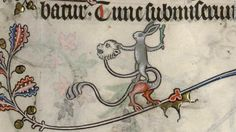 Throughout the medieval period rabbits were locked in an eternal battle across the pages of manuscripts. Mankind, dogs, mythical beasts, even woodpeckers: there was nothing a rabbit would not throw down the gauntlet to.<br /><em><br />Pictured: Ms 107, Bréviaire de Renaud de Bar (1302-1304), fol.-89r-108r, Bibliothèque de Verdun</em>