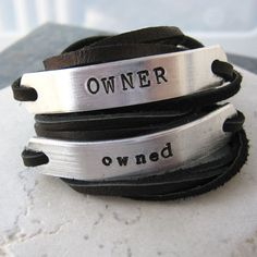 OWNER and Owned Set of 2 Leather Wrap Bracelets by riskybeads, $29.95