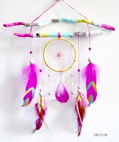 Summer Solstice Painted Driftwood Dream Catcher Mobile por eenk