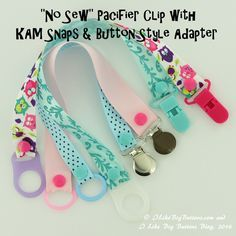 """30 Days of KAM Snaps and Beyond!!! How to make a """"No Sew"""" Pacifier Clip with KAM…"""