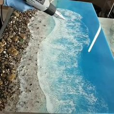Realistic Waves on Epoxy Resin 🌊Epoxy resin pigment/dye is available on Amazon with 10-20% OFF code:DECORROM. Follow us for more daily inspiration. All credit to zernovaart