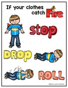 Added by Marcia:Serious issues also need to be addressed with children. In addition to the escape route for incidents of fire, we need to train the children what to do in case of fire contact on the clothes. Fire Safety For Kids, Fire Safety Week, Fire Kids, Child Safety, Preschool Fire Safety, Community Helpers Preschool, Preschool Lessons, Fire Safety Poster, Safety Posters