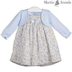 Vestido de franela de florecitas con cuerpo de lana manga larga