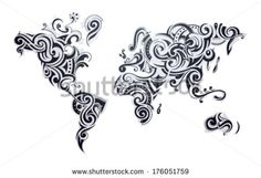Tribal new zealand tattoo httpstattoosknew zealand world map tattoo our earth as one tribe concept illustration by akv via shutterstock gumiabroncs Choice Image