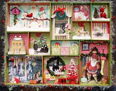 a one-of-a-kind vintage shadow box collage note: Christmas card cutouts and backgrounds Christmas Past, Retro Christmas, Vintage Holiday, Christmas Projects, Winter Christmas, Xmas, Christmas Collage, Christmas Shadow Boxes, Christmas Decorations