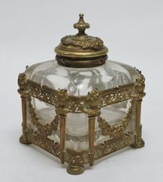 19thC French Sevres Crystal & Bronze Inkwell