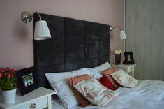 szary tapicerowany zagłówek łóżka