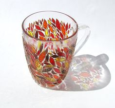 Autumn Leaves Mug Hand Painted Mug Painted Coffee Mug by ArtMasha