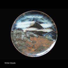 Jun and oilspot glazes over iron slip. Ceramic Artists, Platter, Jun, Clouds, Ceramics, Winter, Pictures, Ceramica, Winter Time