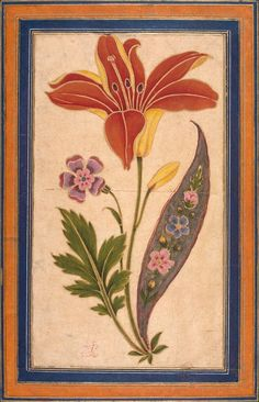 flower and bird flora & bird painting by mirza agha emami imami2