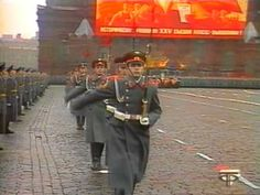 Soviet Army honor guards lining up on the flank of Red Square in the 1976 Moscow October Revolution Day Parade.