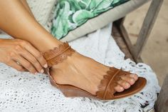 MAGDALENA. Leather sandals / leather wedge shoes / wedge