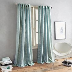 DKNY Urban Luster 63-Inch Back Tab Window Curtain Panel in Aqua