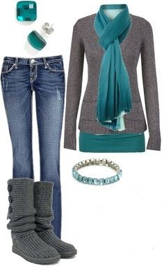 turquoise and grey outfit
