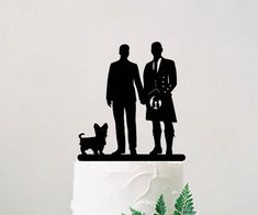 Gay scottish wedding cake topper with pets, Groom and groom silhouette topper with a dog, Custom cake topper, LGBT wedding topper Scottish Wedding Cakes, Gay Wedding Cakes, Lgbt Wedding, Wedding Cake Decorations, Personalized Cake Toppers, Custom Cake Toppers, Custom Cakes, Silhouette Cake, Modern Groom