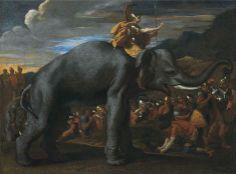 Nicolas Poussin - Aníbal cruzando los Alpes con sus elefantes (1625-1626)