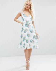 ASOS - Kate - Robe mi-longue en dentelle à imprimé floral - Blanc