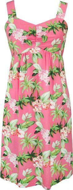 W188ZR Hawaiian Print Sun Dress in Pink, Womens Tropical Hawaiian Dresses Shirts Clothing, W188o-ZR-Pink - Paradise Clothing Company