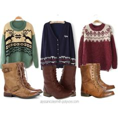"""Oversized Winter Sweaters and Combat Boots"" by alyssanicolesmith on Polyvore"